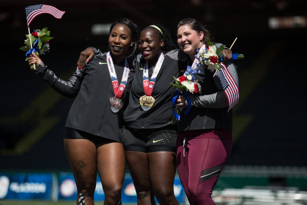 Gwen Berry (left), Amber Campbell (center) and Deanne Price (right) are the top three finishers in the hammer throw. Day six of the U.S. Track and Field Trials took place Wednesday at Hayward Field in Eugene, Ore. Events continue through July 10. Photo by Dillon Vibes